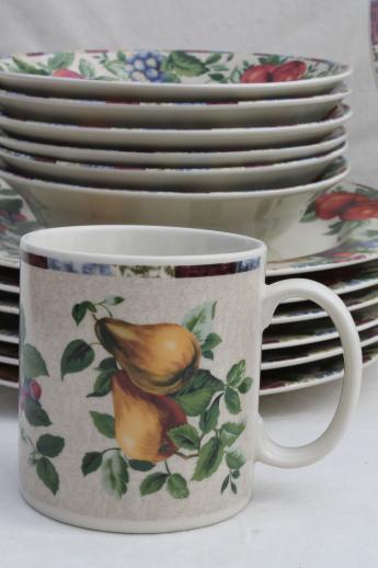 Sonoma fruit Sakura Oneida stoneware dinnerware set for 6 with serveware