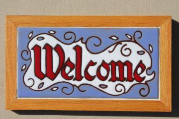 Southwestern art tile studio pottery tiles Welcome, framed wood sign