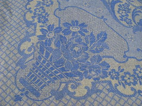 Spain blue & yellow cotton jacquard woven bed cover, vintage bedspread