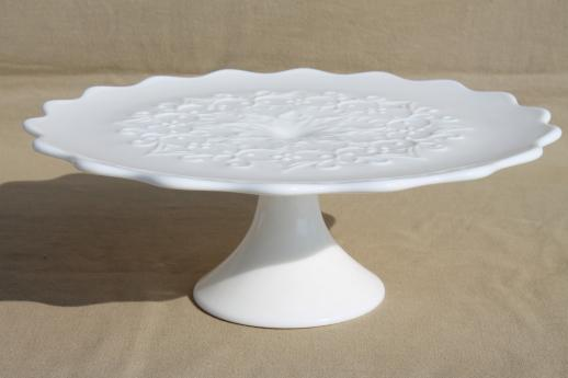 Spanish Lace Fenton vintage white milk glass cake stand wedding cake plate & Spanish Lace Fenton vintage white milk glass cake stand wedding ...