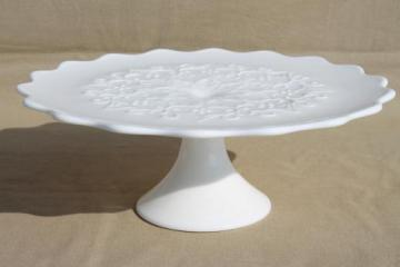 Spanish Lace Fenton vintage white milk glass cake stand, wedding cake plate