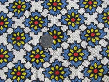 Spanish tiles blue w/ yellow daisies print vintage fabric, light cotton plisse
