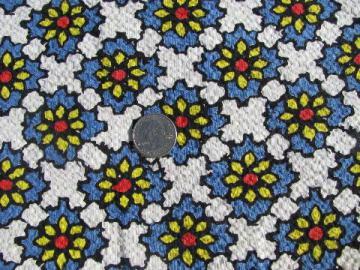 Spanish tiles blue w/ yellow daisies print vintage fabric, light cotton plisse