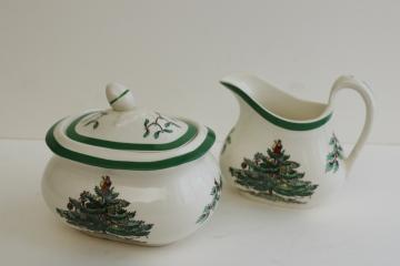 Spode Christmas Tree china cream pitcher & sugar bowl set, Made in England vintage