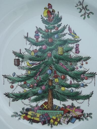 Christmas Tree china, set of 8 Spode England china dinner plates