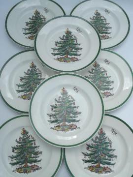 Spode Christmas Tree china, set of 8 Spode England china dinner plates