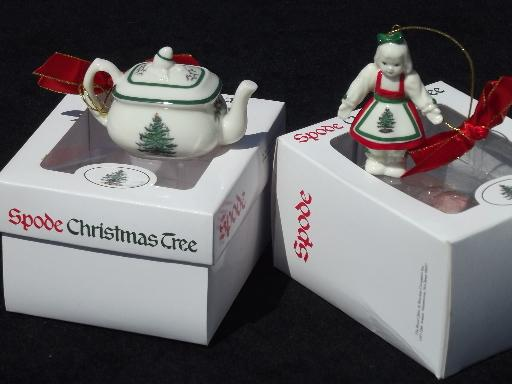 Spode Christmas Tree pattern china ornaments, teapot and girl doll