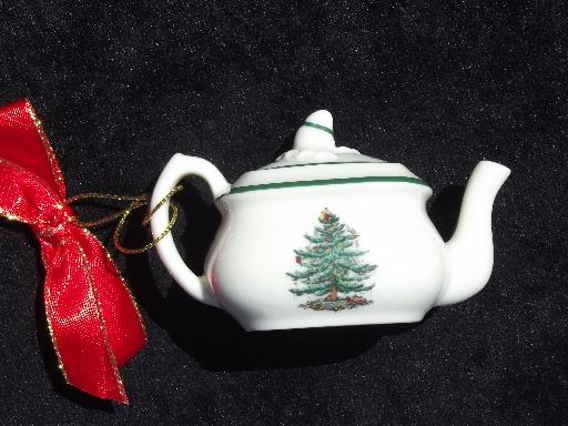 Spode christmas tree pattern china ornaments teapot and