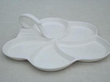 Spode Imperial pure white flower shape tray w/ handle, Impl Spode mark