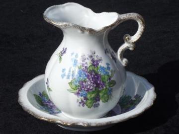 Spring Bouquet Lefton china vintage wash pitcher and bowl set, violets floral