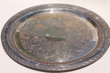 Spring Flowers vintage silverplate serving tray, International Silver plate