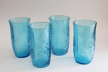 Spring Song Anchor Hocking laser blue glass tumblers, vintage drinking glasses set