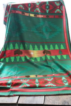 St Labre Indian School print fleece lap blanket throw, red & green w/ buffalo