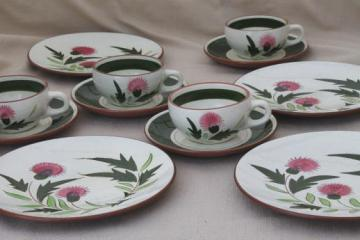Stangl Thistle cups \u0026 saucers w/ plates vintage Stangl pottery coffee tea dessert & currently on sale items