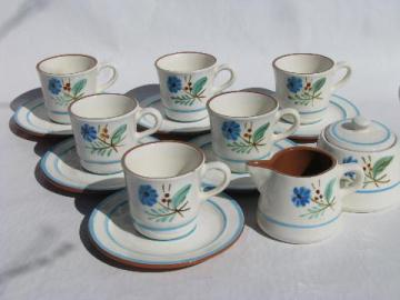 Stangl pottery, vintage coffee cups & saucers, blue Bachelor's Button