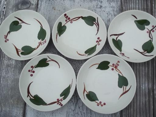 & Stanhome ivy berry hand-painted vintage Blue Ridge pottery dishes
