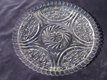 Stars & Bars vintage pressed pattern glass cake or sandwich plate