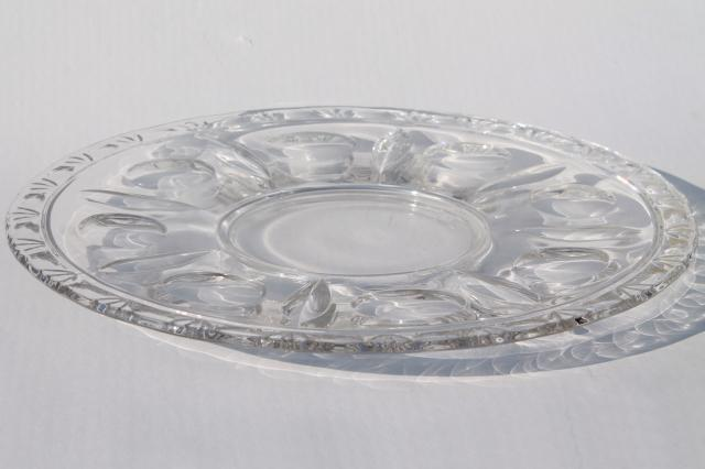 Sterling crystal glass torte plate, low cake stand w/ center foot, wedding cake plate