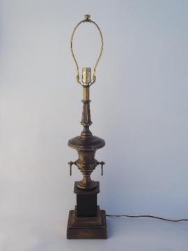 Stiffel brass lamp, antique brass urn table lamp w/ vintage Stiffel label