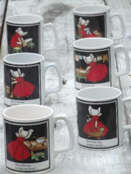 Sunbonnet Sue chores Days of the Week coffee mugs set, vintage Japan