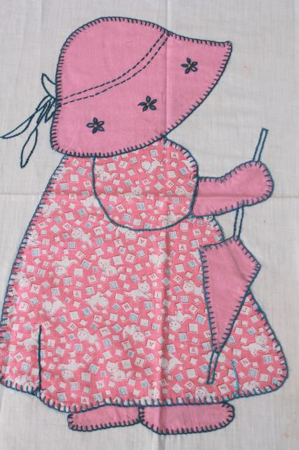 Sunbonnet Sue patchwork applique quilt block, hand embroidered vintage cotton print fabric