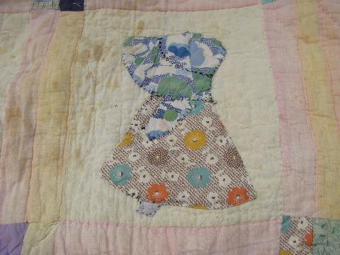 Sunbonnet sue vintage farm country hand stitched applique quilt