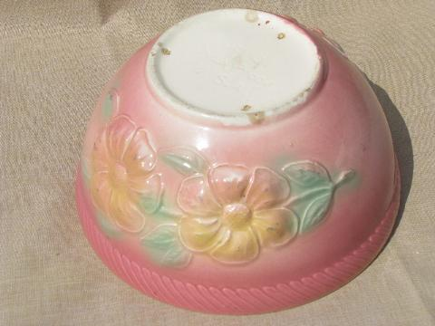 Sunglow yellow flower pink Hull pottery mixing bowl, vintage kitchen