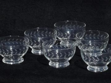 Swedish modern vintage Anchor Hocking glass bowls, etched Laurel wheel cut