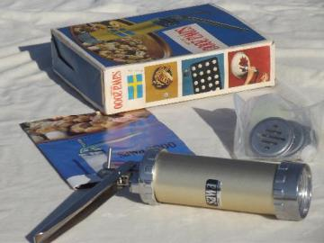 Swedish spritz cookie press, Sawa 2000 cookie gun w/ instructions & recipe