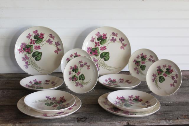 Sweet Violets vintage American Limoges violet pattern china, set for 4