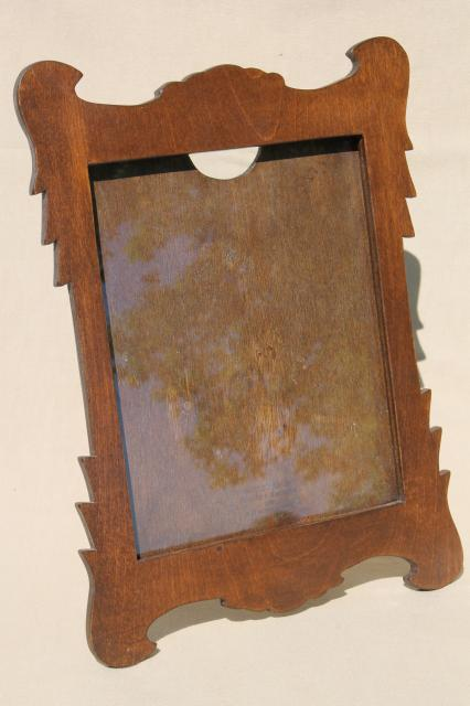 Swiss Cottage Style Vintage Wood Picture Frame W Easel Back Stand