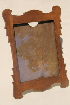Swiss cottage style vintage wood picture frame w/ easel back stand