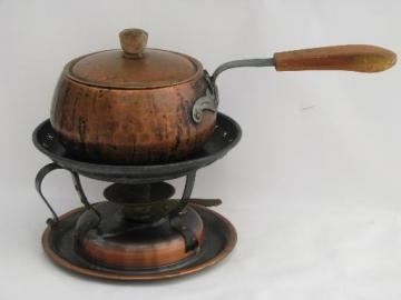 Swiss made Stockli Nestal copper fondue pot, chafing dish stand w/ burner