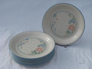 Symphony coral-pink & blue flowers Corelle glass dinnerware, 12 salad plates