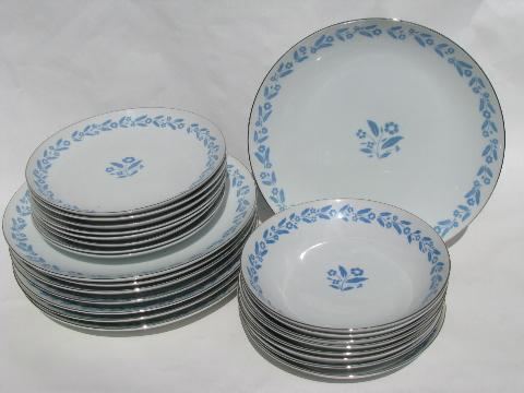 Symphony In Blue Flowers On White China For 8 Vintage Cottage Fl Dishes