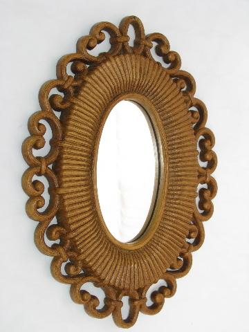 Syroco - Homco retro plastic wicker mirrors, flowers, butterflies