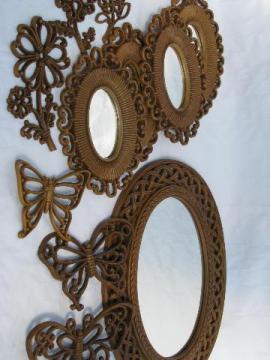 Syroco - Homco retro plastic wicker mirrors, flowers, butterflies