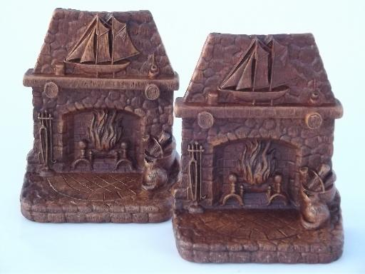 Syroco Orna Wood Type Composition Fireplace Book Ends