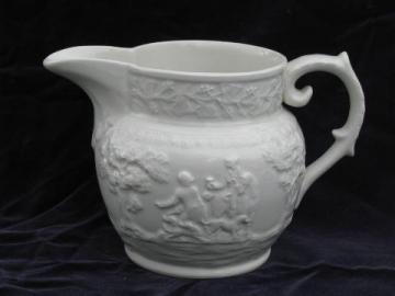 T G Green vintage white ironstone china pitcher English Hunt Club