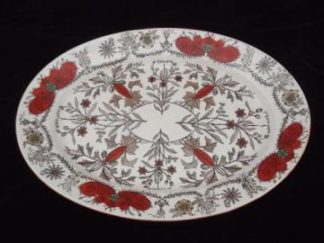 T & R Boote Lahore antique painted transferware china, huge platter
