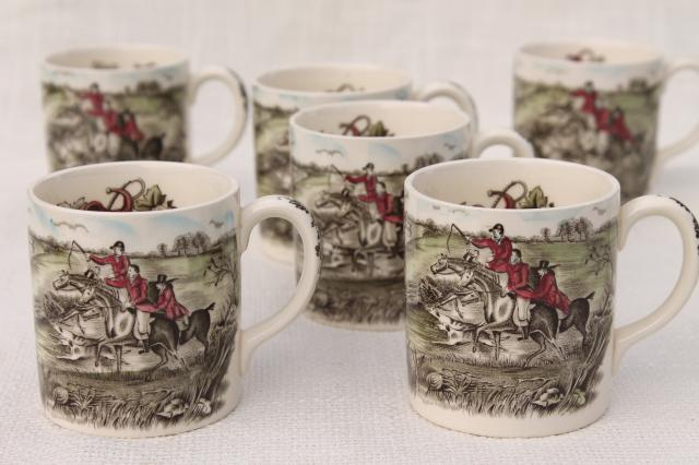Tally Ho English hunt scene coffee mugs, vintage Johnson Bros china set of six cups