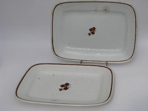 Tea Leaf antique white ironstone china rectangular platters, vintage Meakin, Wedgwood