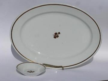 Tea Leaf copper luster antique vintage white ironstone china bowl & platter
