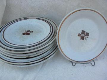 Tea Leaf copper luster antique vintage white ironstone china plates lot
