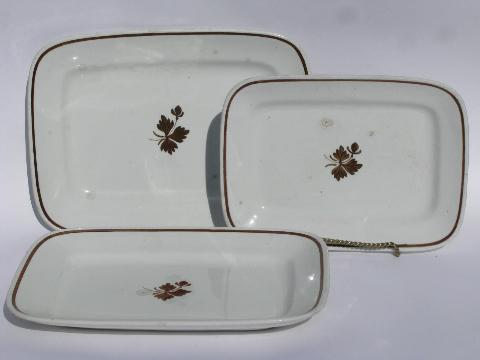 Tea Leaf copper luster antique vintage white ironstone china rectangular platters
