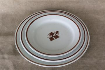 Tea Leaf pattern white ironstone china w/ copper luster stack of antique plates