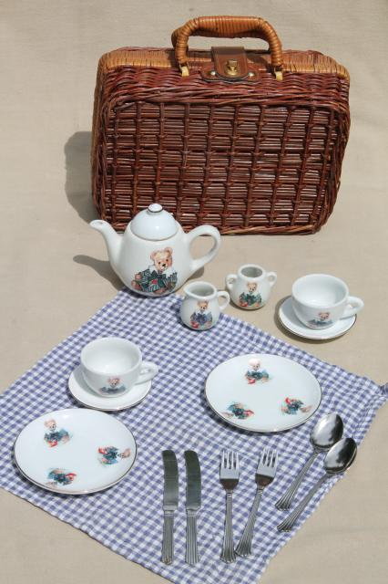 Picnic Basket Dish Set : Teddy bears picnic hamper toy basket w tiny