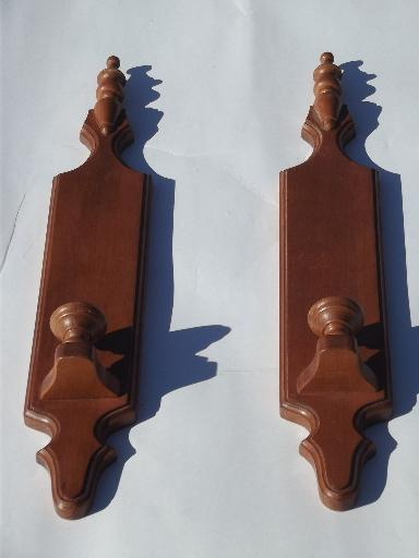 Long Wooden Wall Sconces : Tell City label maple wall sconces, vintage hardwood candle sconce pair