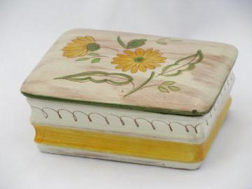 Terra Rose hand-painted Stangl pottery, vintage jewelry or cigarette box
