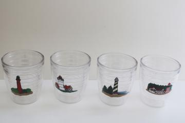 Tervis insulated plastic tumblers, set of 4 drinking glasses different lighthouses